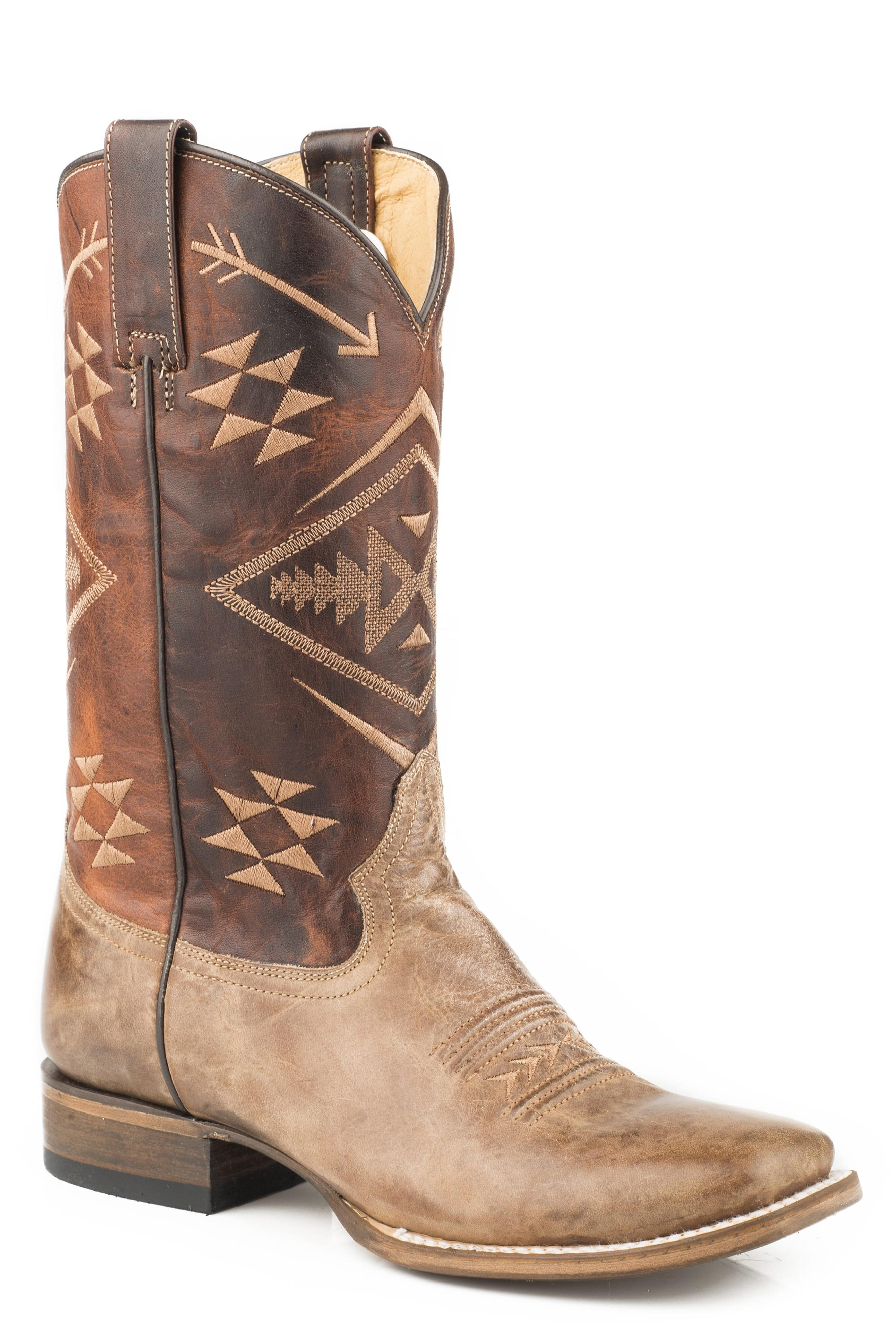 Aztec Leather Square Toe Cowgirl Boot